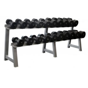 Commercial Round Dumbbell Set (10-40kg) with DB Rack
